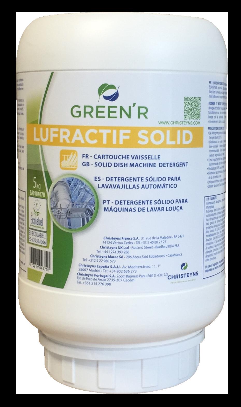 GREEN'R LUFRACTIF SOLID Détergent solide pour le lavage de la vaisselle en machine automatique