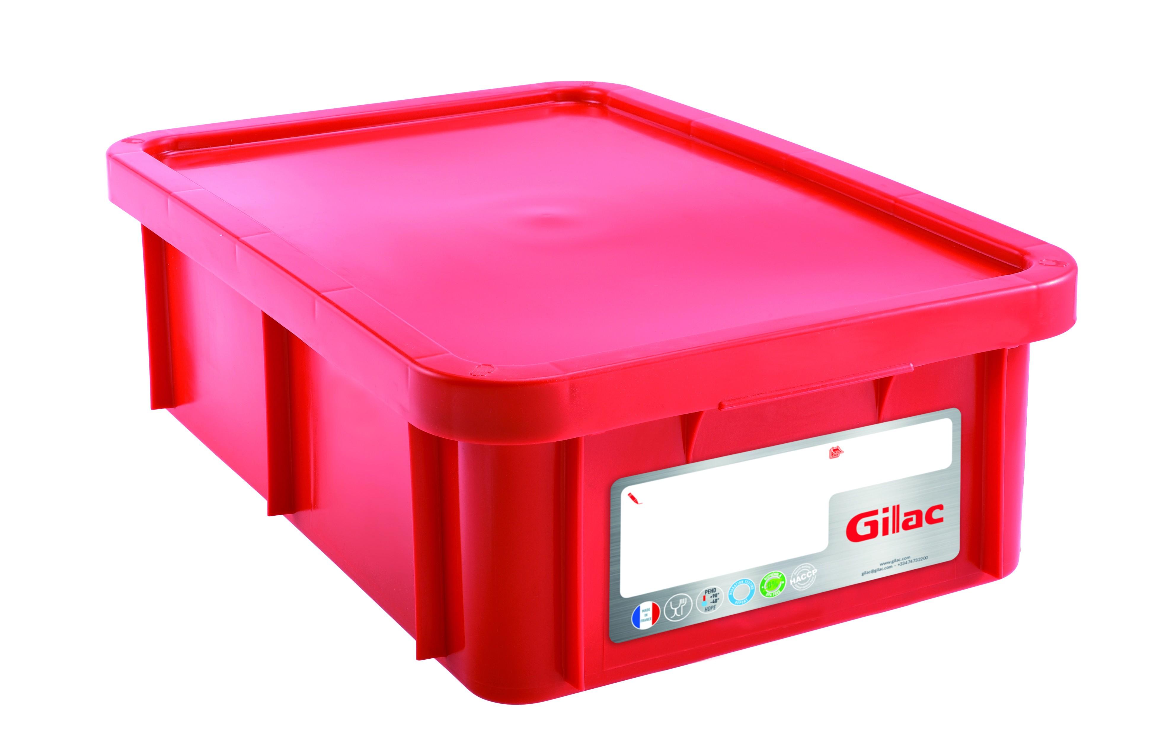 Bac HACCP 25 L rectangulaire + couvercle - rouge