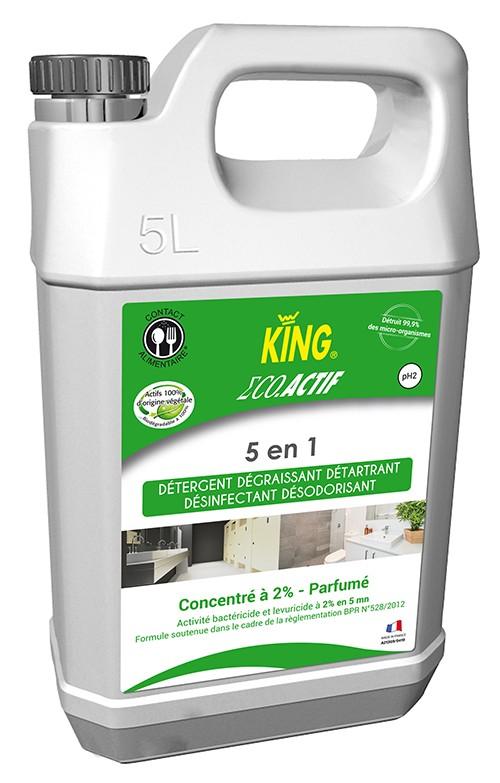 KING ECO ACTIF 5 EN 1 Détergent détartrant désinfectant dégraissant désodorisant multi-surfaces  5L