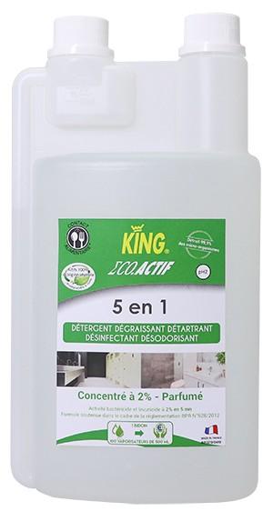 KING ECO ACTIF 5 EN 1 Détergent détartrant désinfectant dégraissant désodorisant multi-surfaces  1L