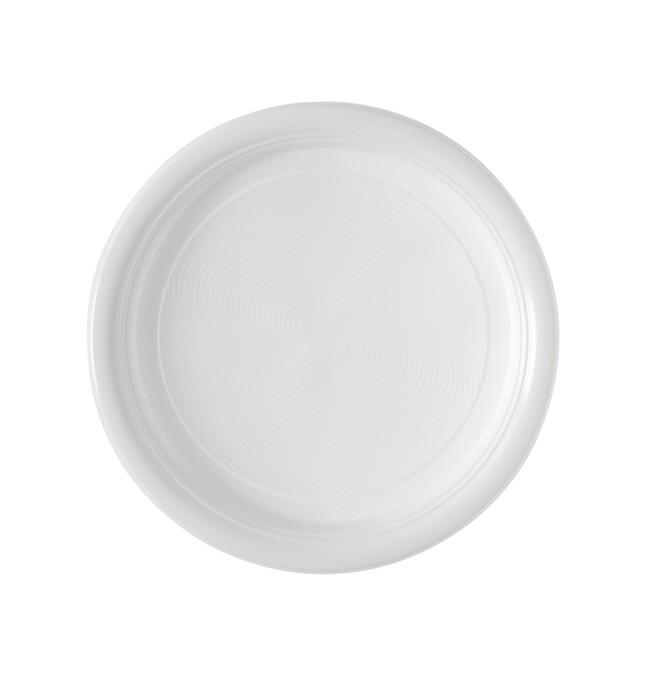Assiette blanche en plastique