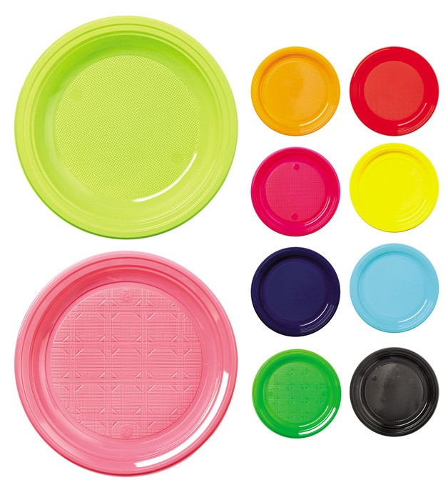 Assiettes rondes couleur en plastique