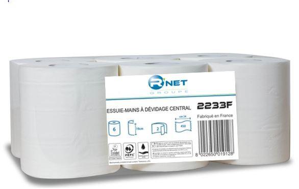 R'NET Essuie-mains blancs dévidage central 450 formats - Colis de 6