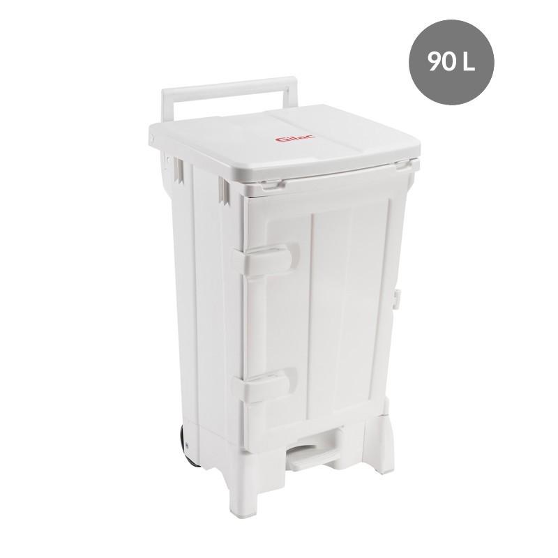 Collecteur à p édale 90 L + porte - couvercle blanc