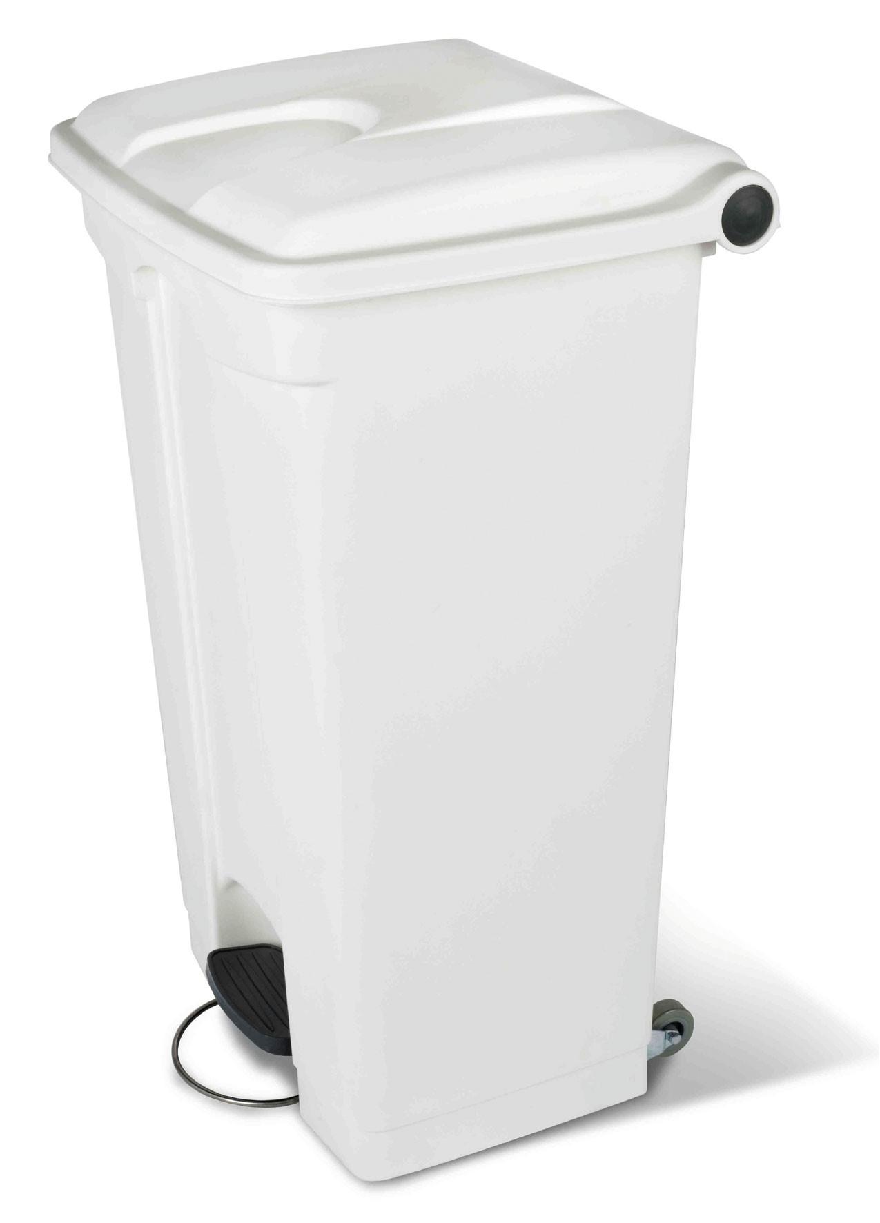 Collecteur à pédale 90L - Blanc