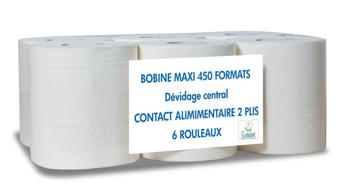 Essuie-mains blancs dévidage central 450 formats - Colis de 6