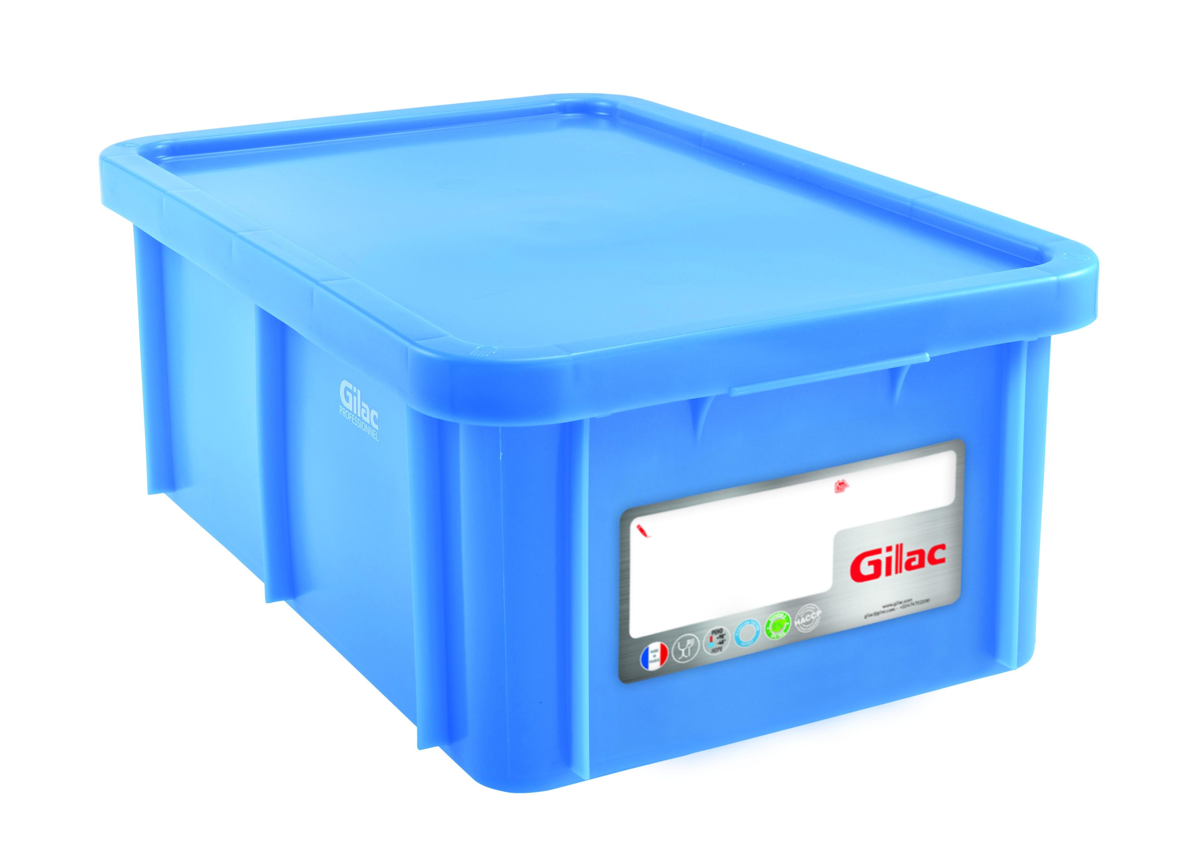 Bac HACCP 35 L rectangulaire + couvercle - bleu