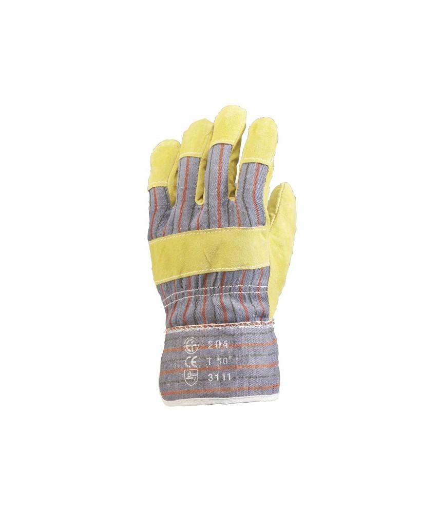 Gant docker croûte de bovin doublé coton - Taille 10 x12 paires