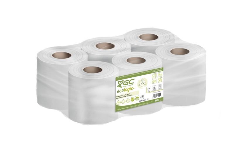 Essuie-mains blancs dévidage central 450 formats 2 plis - Colis de 6