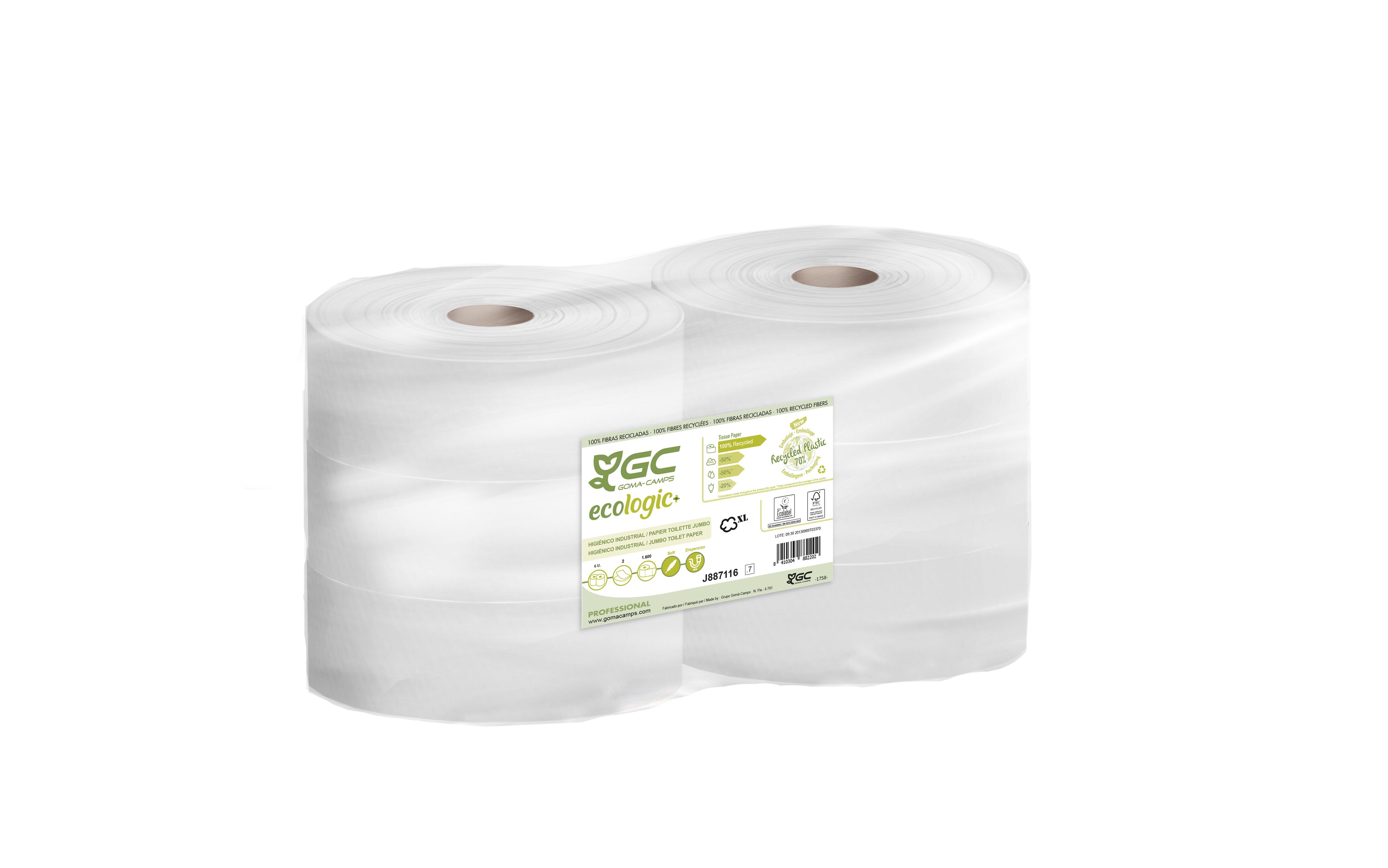 Papier Toilette  JUMBO 100% Recyclé ECOLOGIC x 6