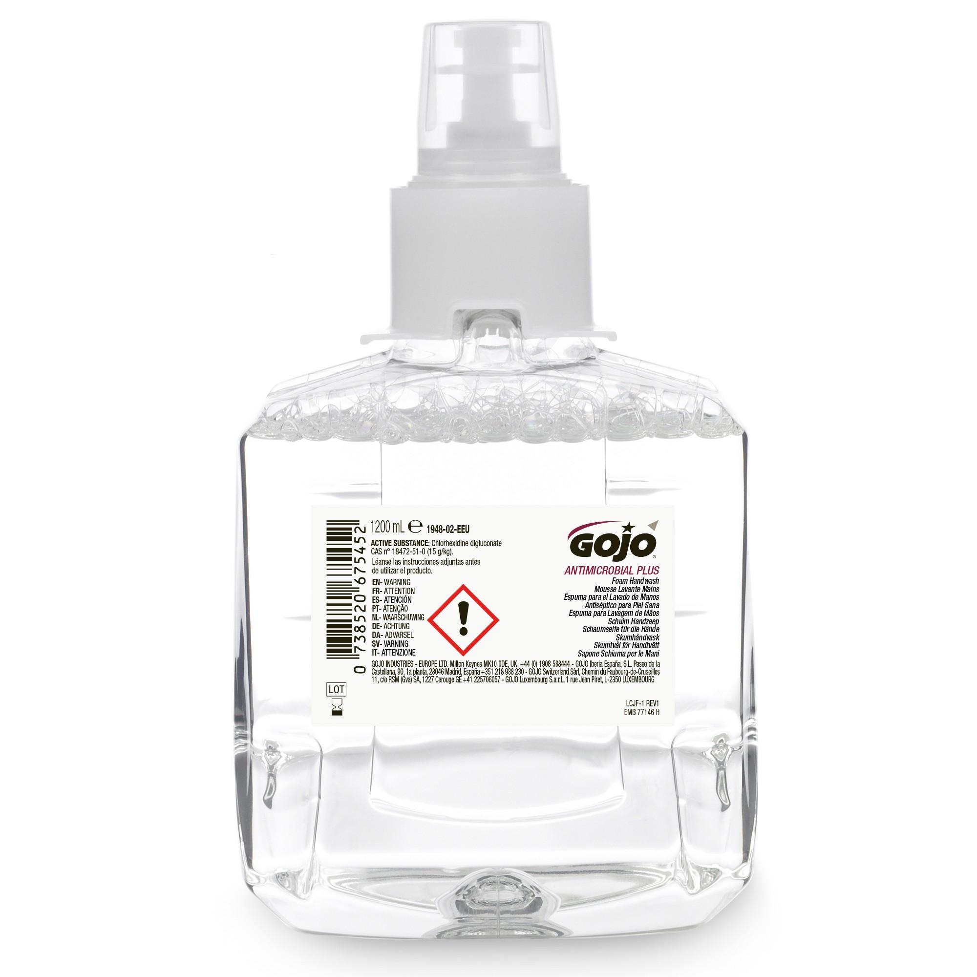 Savon mousse antibactérien Gojo 1200ml Recharge LTX-12 1200ml par 2
