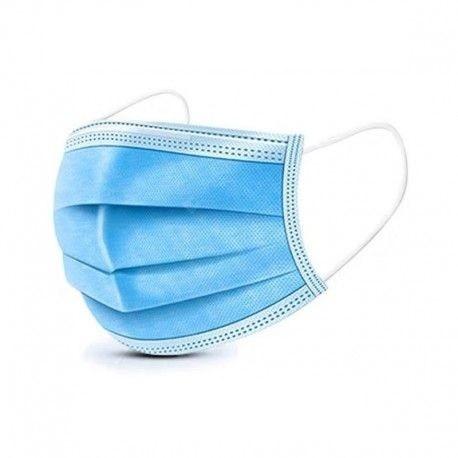 Masque PLP bleu 3 plis de chirurgie haute filtration à élastiques  20 x 50