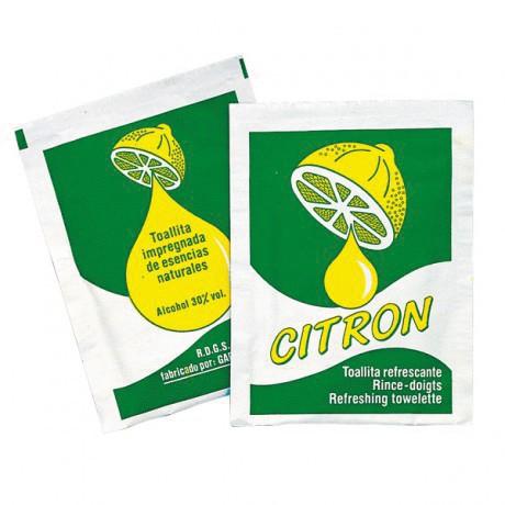 Rince-doigts serviettes rafraîchissantes citron