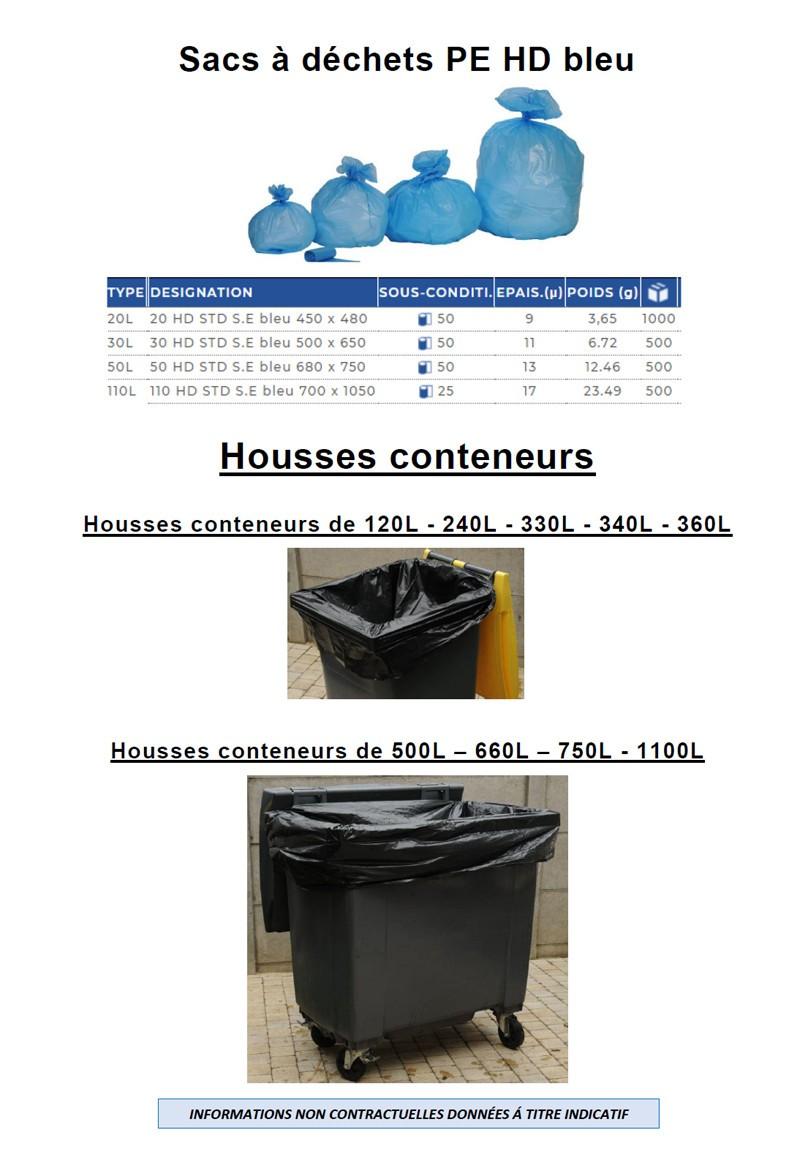 Sacs à déchets haute densité et housses-conteneurs