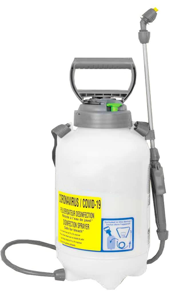 PULVERISATEUR DESINFECTION Résiste à l'eau de javel* Capacité utile : 5L Capacité totale : 7L