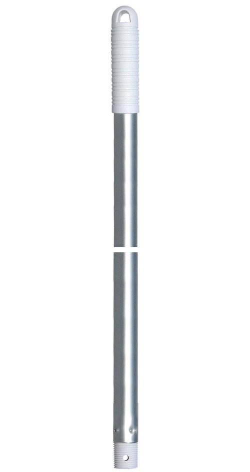 Manche aluminium 140 cm poignée blanche à vis double fonction