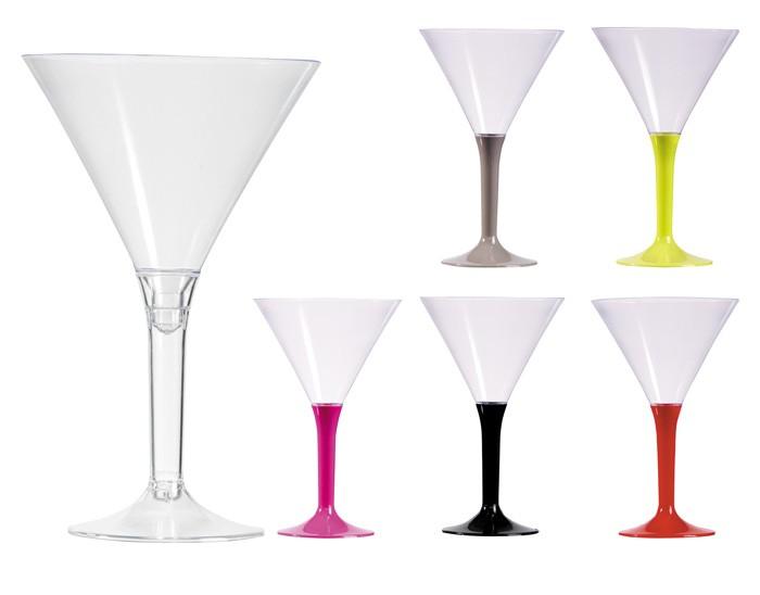 Verres à cocktail pied couleur en plastique